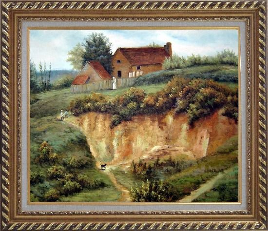 Framed Spring Rural Countryside Peaceful Life Oil Painting Village Classic Exquisite Gold Wood Frame 26 x 30 Inches