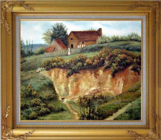 Framed Spring Rural Countryside Peaceful Life Oil Painting Village Classic Gold Wood Frame with Deco Corners 27 x 31 Inches