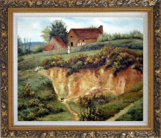 Framed Spring Rural Countryside Peaceful Life Oil Painting Village Classic Ornate Antique Dark Gold Wood Frame 26 x 30 Inches