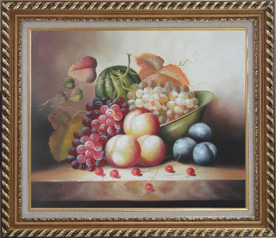 Framed Plate with Grapes, Peaches, Purple Plums, Cherries and Green Pumpkin Oil Painting Still Life Fruit Classic Exquisite Gold Wood Frame 26 x 30 Inches