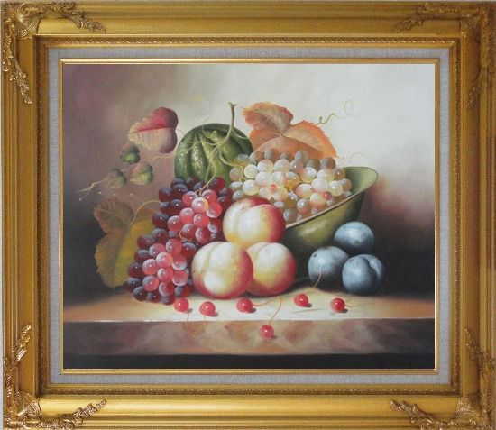 Framed Plate with Grapes, Peaches, Purple Plums, Cherries and Green Pumpkin Oil Painting Still Life Fruit Classic Gold Wood Frame with Deco Corners 27 x 31 Inches