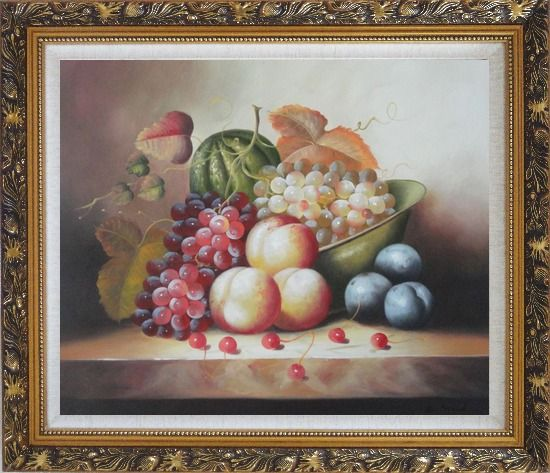 Framed Plate with Grapes, Peaches, Purple Plums, Cherries and Green Pumpkin Oil Painting Still Life Fruit Classic Ornate Antique Dark Gold Wood Frame 26 x 30 Inches