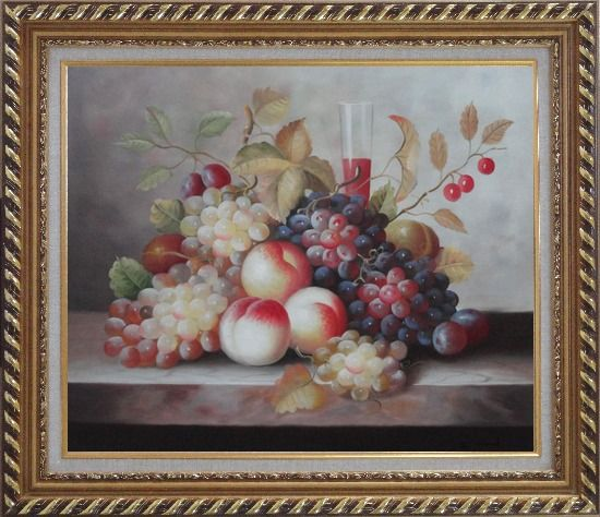 Framed Grapes, Peaches, Cherries, Tomato With Glass of Red Juice Oil Painting Still Life Fruit Classic Exquisite Gold Wood Frame 26 x 30 Inches