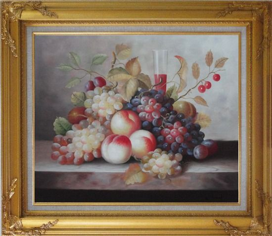 Framed Grapes, Peaches, Cherries, Tomato With Glass of Red Juice Oil Painting Still Life Fruit Classic Gold Wood Frame with Deco Corners 27 x 31 Inches