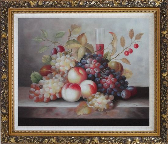 Framed Grapes, Peaches, Cherries, Tomato With Glass of Red Juice Oil Painting Still Life Fruit Classic Ornate Antique Dark Gold Wood Frame 26 x 30 Inches