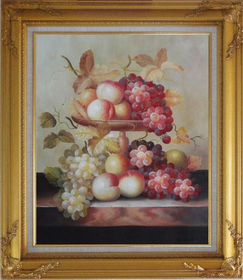 Framed Grapes, Peaches and Oranges with Compote Plate Oil Painting Still Life Fruit Classic Gold Wood Frame with Deco Corners 31 x 27 Inches