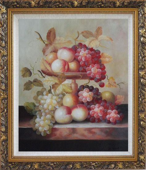 Framed Grapes, Peaches and Oranges with Compote Plate Oil Painting Still Life Fruit Classic Ornate Antique Dark Gold Wood Frame 30 x 26 Inches