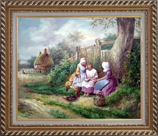 Framed Reading Under the Tree Oil Painting Portraits Woman Classic Exquisite Gold Wood Frame 26 x 30 Inches