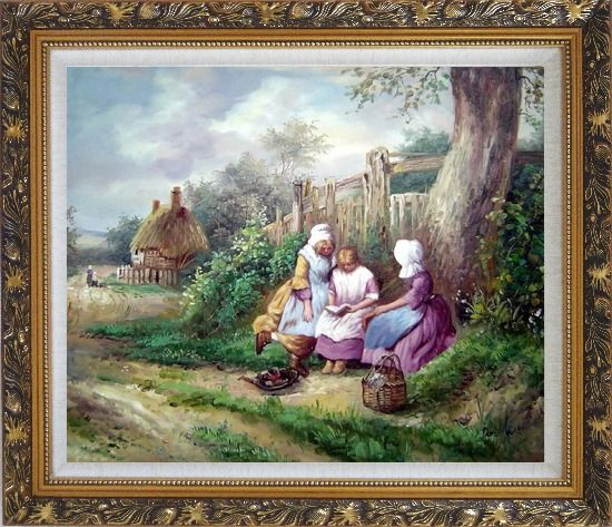 Framed Reading Under the Tree Oil Painting Portraits Woman Classic Ornate Antique Dark Gold Wood Frame 26 x 30 Inches