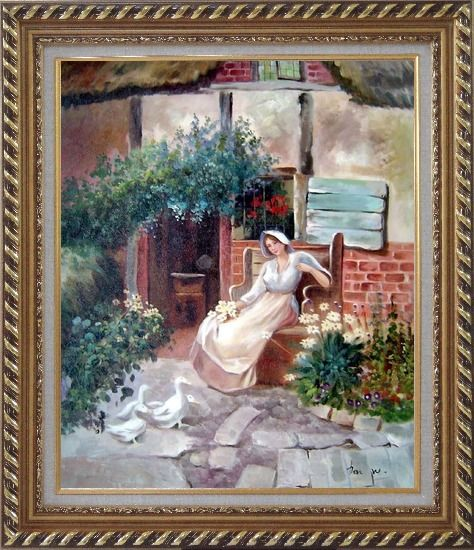 Framed Sitting Rural Girl Portrait Oil Painting Portraits Woman Classic Exquisite Gold Wood Frame 30 x 26 Inches