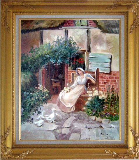 Framed Sitting Rural Girl Portrait Oil Painting Portraits Woman Classic Gold Wood Frame with Deco Corners 31 x 27 Inches
