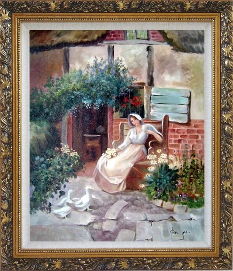 Framed Sitting Rural Girl Portrait Oil Painting Portraits Woman Classic Ornate Antique Dark Gold Wood Frame 30 x 26 Inches