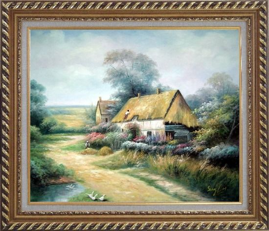 Framed Cottage In Cornfield Oil Painting Village Classic Exquisite Gold Wood Frame 26 x 30 Inches