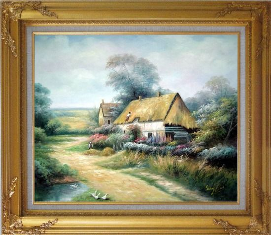 Framed Cottage In Cornfield Oil Painting Village Classic Gold Wood Frame with Deco Corners 27 x 31 Inches