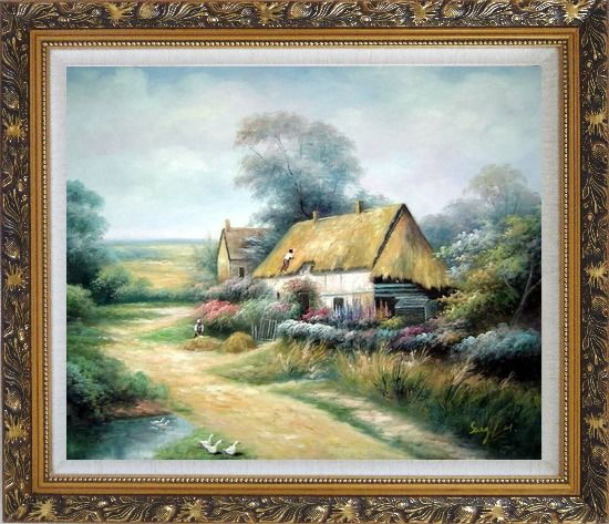 Framed Cottage In Cornfield Oil Painting Village Classic Ornate Antique Dark Gold Wood Frame 26 x 30 Inches