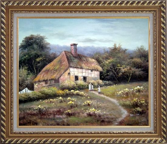 Framed Small Old House Oil Painting Village Classic Exquisite Gold Wood Frame 26 x 30 Inches