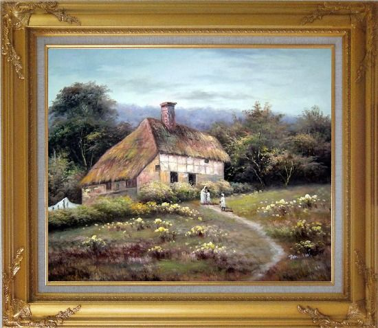 Framed Small Old House Oil Painting Village Classic Gold Wood Frame with Deco Corners 27 x 31 Inches