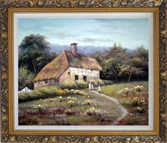 Framed Small Old House Oil Painting Village Classic Ornate Antique Dark Gold Wood Frame 26 x 30 Inches