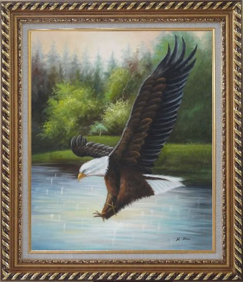 Framed American Bald Eagle Strike Water Oil Painting Animal Naturalism Exquisite Gold Wood Frame 30 x 26 Inches