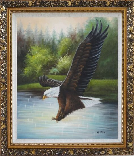 Framed American Bald Eagle Strike Water Oil Painting Animal Naturalism Ornate Antique Dark Gold Wood Frame 30 x 26 Inches