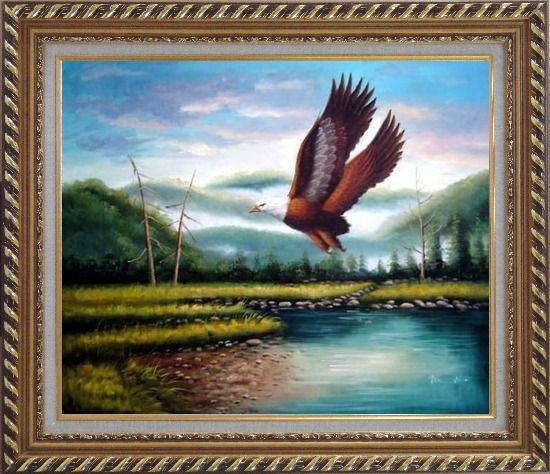 Framed American Eagle Soaring Across the Lake Oil Painting Animal Naturalism Exquisite Gold Wood Frame 26 x 30 Inches