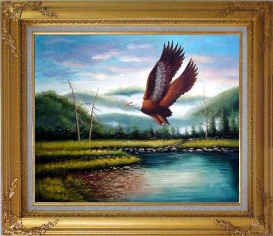 Framed American Eagle Soaring Across the Lake Oil Painting Animal Naturalism Gold Wood Frame with Deco Corners 27 x 31 Inches