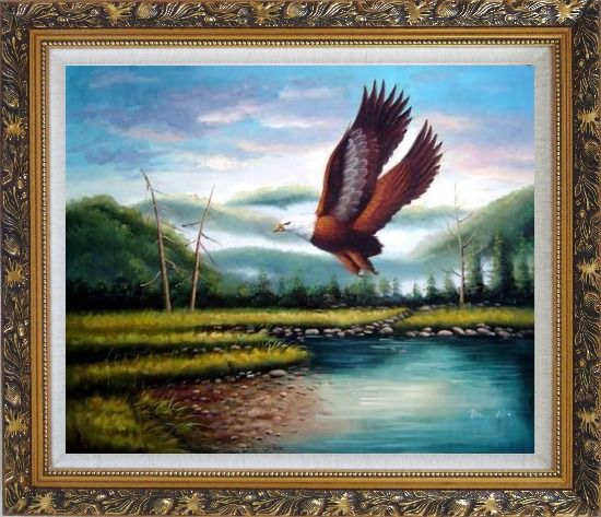 Framed American Eagle Soaring Across the Lake Oil Painting Animal Naturalism Ornate Antique Dark Gold Wood Frame 26 x 30 Inches