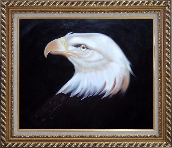 Framed Head Of American Bald Eagle Oil Painting Animal Naturalism Exquisite Gold Wood Frame 26 x 30 Inches