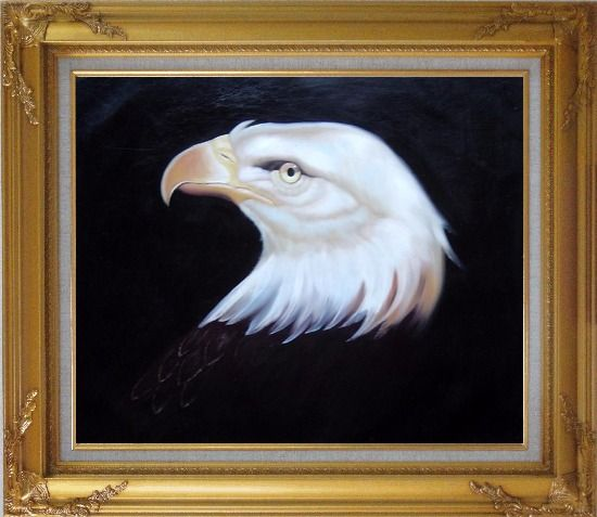 Framed Head Of American Bald Eagle Oil Painting Animal Naturalism Gold Wood Frame with Deco Corners 27 x 31 Inches