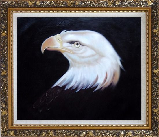 Framed Head Of American Bald Eagle Oil Painting Animal Naturalism Ornate Antique Dark Gold Wood Frame 26 x 30 Inches