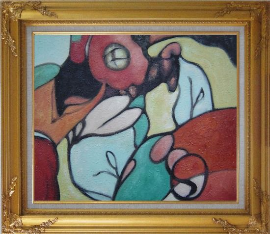 Framed Cheap Modern Cubism Oil Painting Nonobjective Gold Wood Frame with Deco Corners 27 x 31 Inches