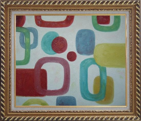 Framed Colorful Rings and Dots in White Background Oil Painting Nonobjective Modern Exquisite Gold Wood Frame 26 x 30 Inches