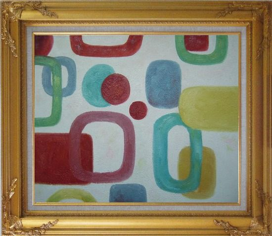 Framed Colorful Rings and Dots in White Background Oil Painting Nonobjective Modern Gold Wood Frame with Deco Corners 27 x 31 Inches