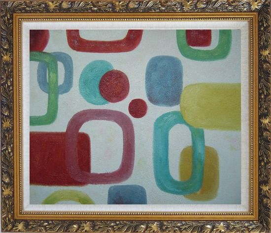 Framed Colorful Rings and Dots in White Background Oil Painting Nonobjective Modern Ornate Antique Dark Gold Wood Frame 26 x 30 Inches