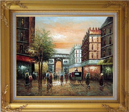 Framed Pedestrian Walk Through Arch of Victory Oil Painting Cityscape France Impressionism Gold Wood Frame with Deco Corners 27 x 31 Inches