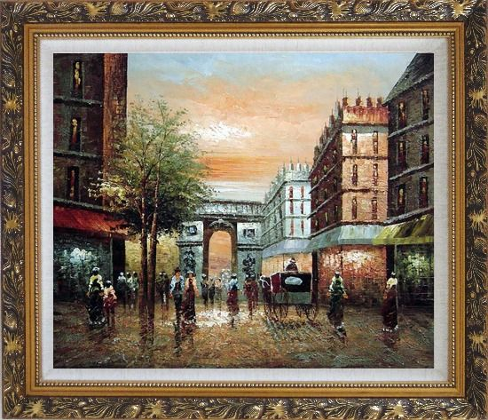 Framed Pedestrian Walk Through Arch of Victory Oil Painting Cityscape France Impressionism Ornate Antique Dark Gold Wood Frame 26 x 30 Inches