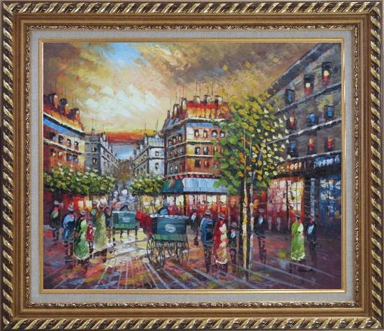 Framed Pedestrian Walk on Paris Street Scene Oil Painting Cityscape France Impressionism Exquisite Gold Wood Frame 26 x 30 Inches