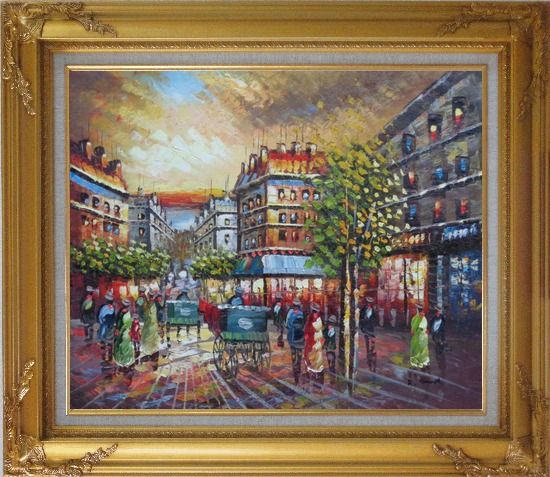 Framed Pedestrian Walk on Paris Street Scene Oil Painting Cityscape France Impressionism Gold Wood Frame with Deco Corners 27 x 31 Inches