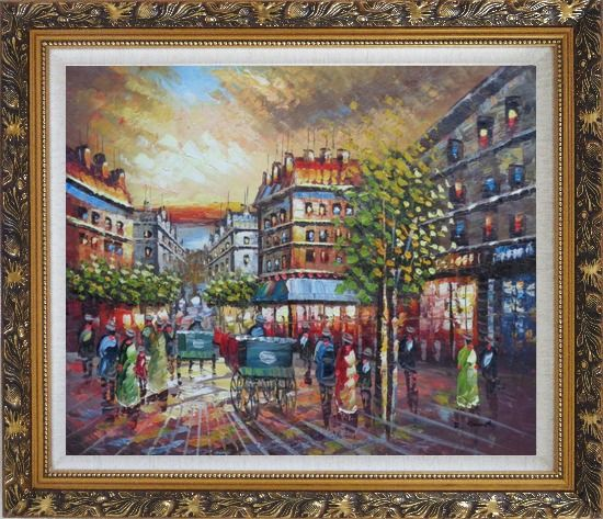 Framed Pedestrian Walk on Paris Street Scene Oil Painting Cityscape France Impressionism Ornate Antique Dark Gold Wood Frame 26 x 30 Inches