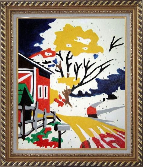 Framed Winter Christmas Modern Pop Art Oil Painting Village Exquisite Gold Wood Frame 30 x 26 Inches