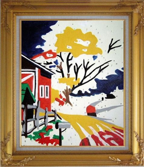 Framed Winter Christmas Modern Pop Art Oil Painting Village Gold Wood Frame with Deco Corners 31 x 27 Inches