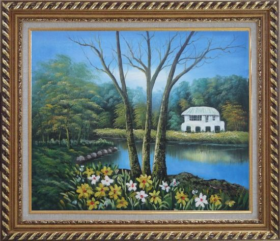 Framed House in a Beautiful Garden with Pond and Flowers Oil Painting Naturalism Exquisite Gold Wood Frame 26 x 30 Inches