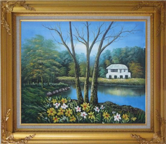 Framed House in a Beautiful Garden with Pond and Flowers Oil Painting Naturalism Gold Wood Frame with Deco Corners 27 x 31 Inches