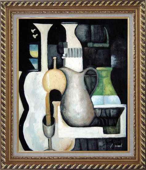 Framed Accords, Instruments Oil Painting Still Life Modern Exquisite Gold Wood Frame 30 x 26 Inches