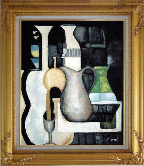 Framed Accords, Instruments Oil Painting Still Life Modern Gold Wood Frame with Deco Corners 31 x 27 Inches