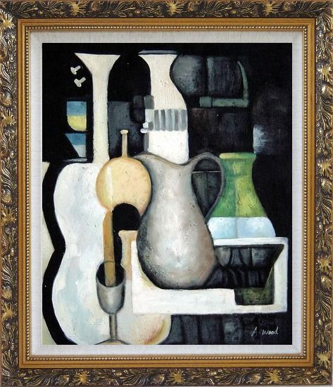 Framed Accords, Instruments Oil Painting Still Life Modern Ornate Antique Dark Gold Wood Frame 30 x 26 Inches