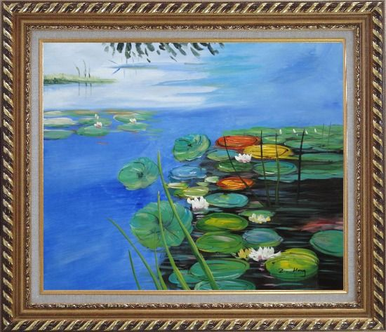 Framed Water Lilies In Pond Oil Painting Landscape River Impressionism Exquisite Gold Wood Frame 26 x 30 Inches