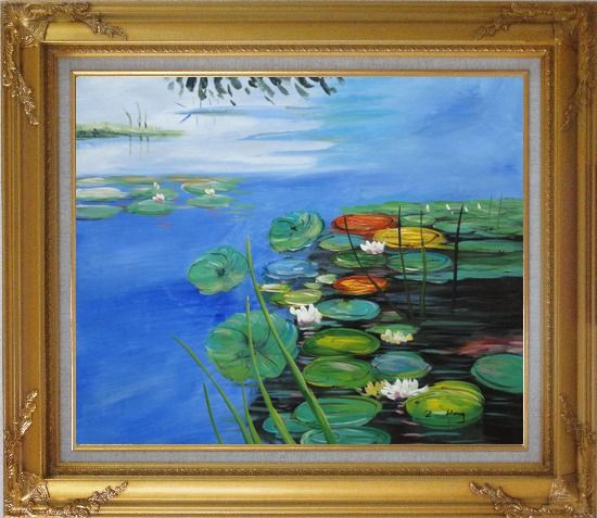 Framed Water Lilies In Pond Oil Painting Landscape River Impressionism Gold Wood Frame with Deco Corners 27 x 31 Inches