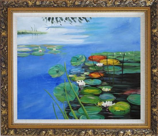 Framed Water Lilies In Pond Oil Painting Landscape River Impressionism Ornate Antique Dark Gold Wood Frame 26 x 30 Inches