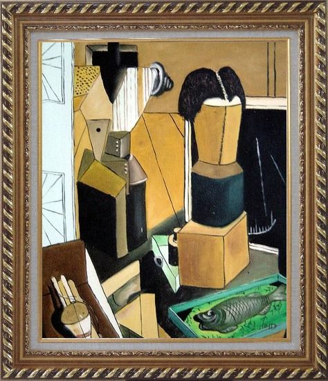 Framed La camera incantata, Carlo Carra Reproduction Oil Painting Nonobjective Modern Cubism Exquisite Gold Wood Frame 30 x 26 Inches